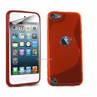 Housse etui coque silicone gel ROUGE pour Apple iPod Touch 5 5G + film ecran
