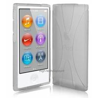 Housse etui coque silicone gel X BLANC pour Apple iPod Nano 7 7G + film ecran