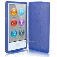 Housse etui coque silicone gel X BLEU pour Apple iPod Nano 7 7G + film ecran