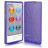 Housse etui coque silicone gel X MAUVE pour Apple iPod Nano 7 7G + film ecran