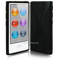 Housse etui coque silicone gel X NOIR pour Apple iPod Nano 7 7G + film ecran