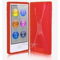 Housse etui coque silicone gel X ROUGE pour Apple iPod Nano 7 7G + film ecran