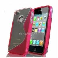 Housse etui coque silicone gel ROSE pour Apple iPhone 4S / iPhone 4 + film ecran