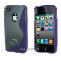 Housse etui coque silicone gel MAUVE pour Apple iPhone 4S / iPhone 4 + film ecran