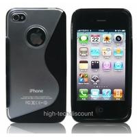 Housse etui coque silicone gel NOIR pour Apple iPhone 4S / iPhone 4 + film ecran