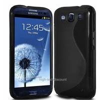 Housse etui coque silicone gel NOIR pour Samsung i9300 Galaxy s3 + film ecran