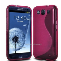 Housse etui coque silicone gel ROSE pour Samsung i9300 Galaxy s3 + film ecran