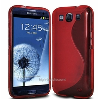 Housse etui coque silicone gel ROUGE pour Samsung i9305 Galaxy s3 4G + film ecran