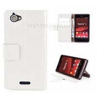 Housse etui coque portefeuille pour Sony Xperia L + film ecran - BLANC