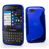 Housse etui coque pochette silicone gel pour Blackberry Q5 + film ecran - BLEU