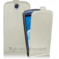 Housse etui coque cuir fine pour Samsung i9500 i9505 Galaxy S4 IV + film ecran - BLANC