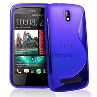 Housse etui coque pochette silicone gel pour HTC Desire 500 + film ecran - BLEU