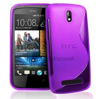 Housse etui coque pochette silicone gel pour HTC Desire 500 + film ecran - MAUVE