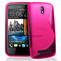 Housse etui coque pochette silicone gel pour HTC Desire 500 + film ecran - ROSE