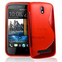 Housse etui coque pochette silicone gel pour HTC Desire 500 + film ecran - ROUGE