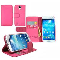 Housse etui coque portefeuille pour Samsung i9190 i9195 Galaxy s4 Mini + film ecran - ROSE