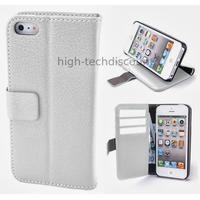 Housse etui coque pochette portefeuille pour Apple iPhone 5 5S + film ecran - BLANC