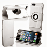 Housse etui coque 360 rotatif BLANC pour Apple iPhone 5 5S 5G + film ecran