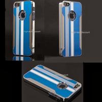 Housse etui coque aluminium BLEU pour Apple iPhone 5 5S 5G + film ecran