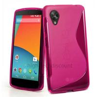 Housse etui coque pochette silicone gel pour Google Nexus 5 + film ecran - ROSE