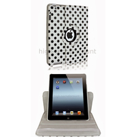 Housse etui coque pochette simi cuir pour Apple iPad 5 Air + film ecran - BLANC POIS