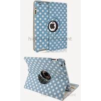 Housse etui coque pochette simi cuir pour Apple iPad 5 Air + film ecran - BLEU POIS
