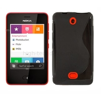 Housse etui coque pochette silicone gel pour Nokia Asha 501 + film ecran - NOIR