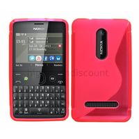 Housse etui coque pochette silicone gel pour Nokia Asha 210 + film ecran - ROSE