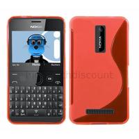 Housse etui coque pochette silicone gel pour Nokia Asha 210 + film ecran - ROUGE
