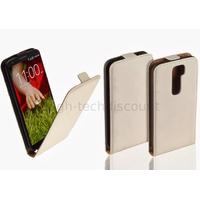 Housse etui coque pochette PU cuir fine pour LG G2 + film ecran - BLANC