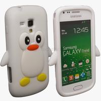 Housse etui coque silicone pour Samsung s7560 Galaxy Trend + film ecran - PINGOUIN BLANC