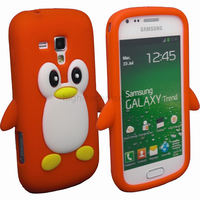 Housse etui coque silicone pour Samsung s7560 Galaxy Trend + film ecran - PINGOUIN ROUGE