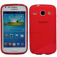 Housse etui coque silicone gel pour Samsung Galaxy Galaxy Core Plus G3500 + film ecran - ROUGE