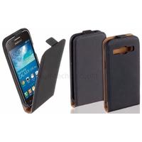 Housse etui coque PU cuir fine pour Samsung Galaxy Core Plus G3500 + film ecran - NOIR