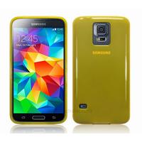 Housse etui coque fine silicone gel pour Samsung Galaxy S5 i9600 + film ecran - JAUNE GLOSSY