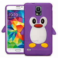 Housse etui coque silicone gel pour Samsung i9600 Galaxy S5 New + film ecran - MAUVE PINGOUIN