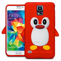 Housse etui coque silicone gel pour Samsung i9600 Galaxy S5 New + film ecran - ROUGE PINGOUIN