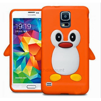 Housse etui coque silicone gel pour Samsung i9600 Galaxy S5 New + film ecran - ORANGE PINGOUIN