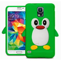 Housse etui coque silicone gel pour Samsung i9600 Galaxy S5 New + film ecran - VERT PINGOUIN