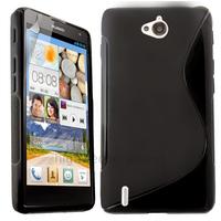 Housse etui coque pochette silicone gel fine pour Huawei Ascend G740 + film ecran - NOIR