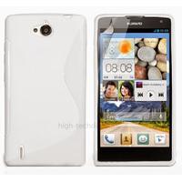 Housse etui coque pochette silicone gel fine pour Huawei Ascend G740 + film ecran - BLANC