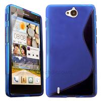 Housse etui coque pochette silicone gel fine pour Huawei Ascend G740 + film ecran - BLEU