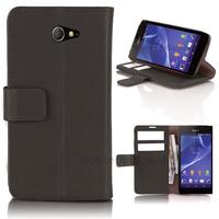 Housse etui coque pochette portefeuille PU cuir pour Sony Xperia M2 + film ecran - NOIR