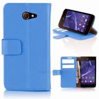 Housse etui coque pochette portefeuille PU cuir pour Sony Xperia M2 + film ecran - BLEU