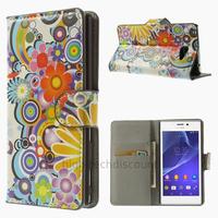 Housse etui coque pochette portefeuille PU cuir pour Sony Xperia M2 + film ecran - FLEURS C