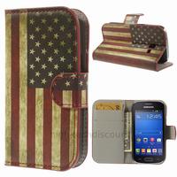 Housse etui coque portefeuille PU cuir pour Samsung s7390 Galaxy Trend Lite + film ecran - USA