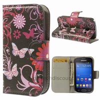 Housse etui coque portefeuille PU cuir pour Samsung s7390 Galaxy Trend Lite + film ecran - FLEURS N