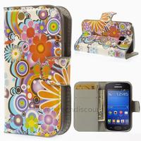 Housse etui coque portefeuille PU cuir pour Samsung s7390 Galaxy Trend Lite + film ecran - FLEURS C