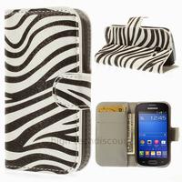 Housse etui coque portefeuille PU cuir pour Samsung s7390 Galaxy Trend Lite + film ecran - ZEBRE