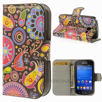 Housse etui coque portefeuille PU cuir pour Samsung s7390 Galaxy Trend Lite + film ecran - PAISLEY